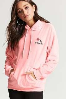 Pink Velvety No Thank You Hoodie