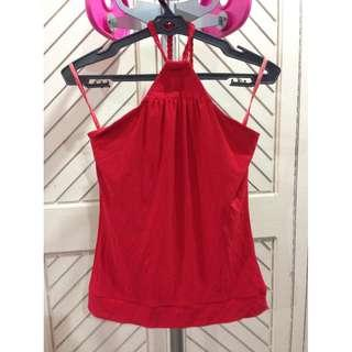 Red Halter Top Backless
