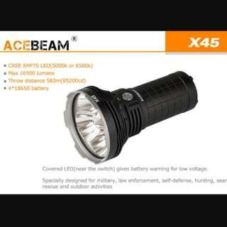 (Clearance Sale) Acebeam X45 16,500 Lumens Searchlight / Flashlight _583 Meters Throw