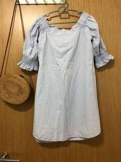 🚚 Cotton on offshoulder dress in light blue color