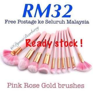 10pcs pink rose gold makeup brush