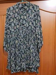 【小個子也適合!】古着秋冬深藍低調碎花洋裝