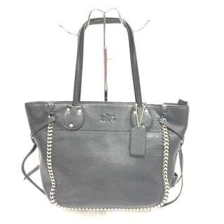 Coach Black Whiplash Leather Tatum Tote Bag