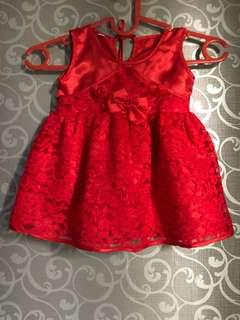 #momjualan/Dress Red Brukat Uk. 3-12