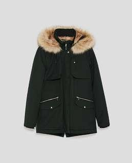 Zara - Black Hooded Parka