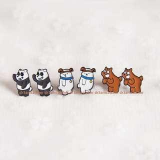 We Bare Bear earrings (set of 3)