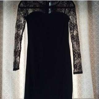 Little Black Suede Lace Dress