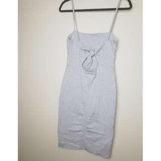 Kookai Grey Back Tie Bodycon Midi Dress