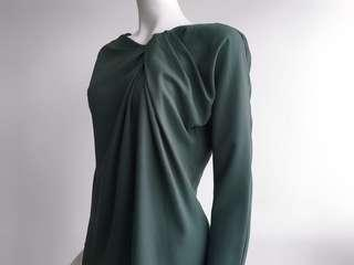 LANVIN VIRIDIAN TEXTURED SIDE RUCHED BACK ZIPPED L/S TOP