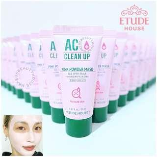 #Payday30  3PC ETUDE HOUSE AC CLEAN UP PINK POWDER MASK 20ML X 3 = 60ML