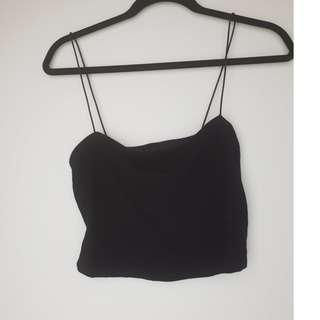 Bardot Black Cara Crop Top