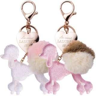 🚚 Laduree 限定款貴賓狗毛球心型吊牌鑰匙圈吊飾