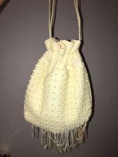 Vintage Beaded Bucket Hand Bag