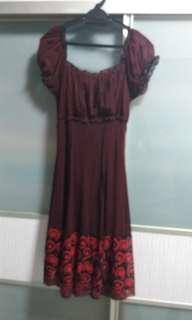 Polka dot Maroon Dress