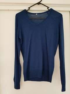 Muji 90% wool 10% silk navy jumper size M