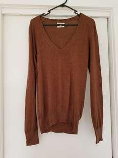 Massimo Dutti Brown silk cashmere top size L