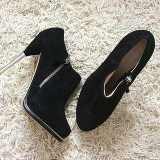 ZARA Suede High Heel Ankle Boots