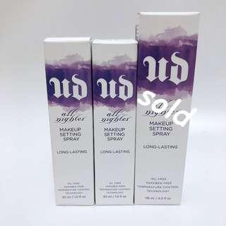 Urban Decay all nighter Makeup Setting Spray  持久長效定妝噴霧 30ml/ $90 each