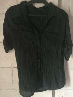 Black Grunge Polo Top