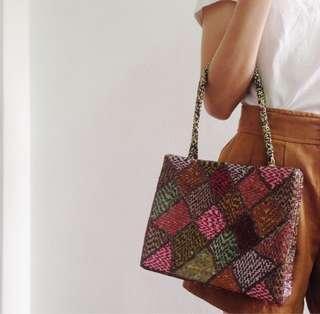 Colour Block Vintage Beaded Handbag