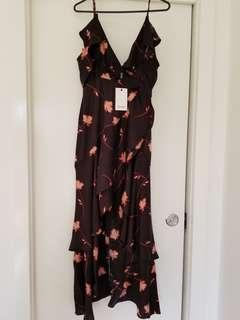 Bardot black frill dress size 10 with tags