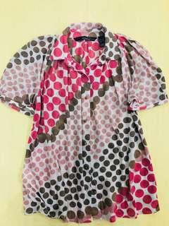 Mango Suit Top with Polka Dot Print