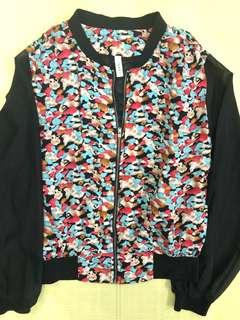 Bomber Jacket with Colorful Detailing and Sheer Sleeves