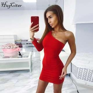 one shoulder red bodycon dress size 8-10