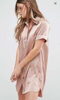Silky peach shirt dress