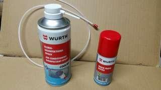 Wurth 汽車冷氣系統消毒殺菌劑1支 + Wurth 快速空氣清新劑1支