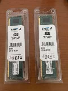 Crucial 4GB DDR3 (2 for $65)