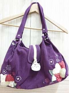 🚚 【Kiro貓】拼布包·手提/肩背包。紫色
