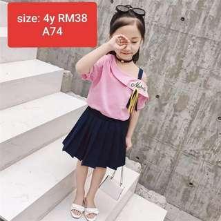Kids girl off shoulder pink and blue skirt