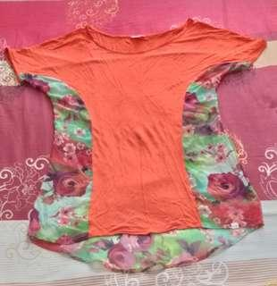 Preloved kaos spandek rodeo orange dewasa