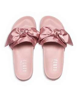 5f7d6ef499bd98 BN 100% Authentic Puma Fenty Bow Slides in Silver Pink Size 40.5