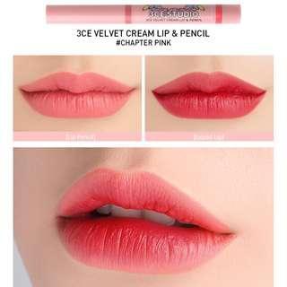 🚚 #Next30 [3CE] Studio Velvet Cream Lip & Pencil - CHAPTER PINK