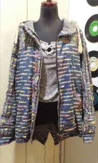 Patterned denim jacket with hoodie