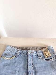 Floral Embroidered Denim Jeans Shorts