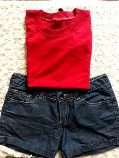 Bundle! Crop shirt & Bench shorts