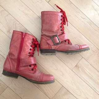 Steve Madden red leather combat boots US6.5