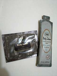 Sabon body scrub+lotion set
