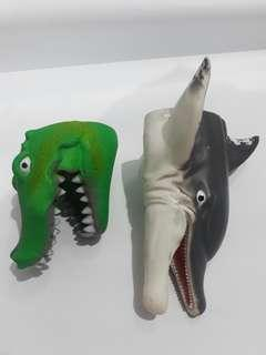 Crocodile and Dolphin Rubber Puppet