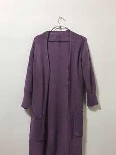 🚚 藕紫 .長 .針織外套