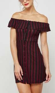 BNWT TOPSHOP Bardot Button Stripe Dress