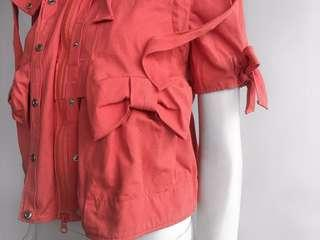 RED VALENTINO PINK DETACHABLE HOODED SHORT SLEEVE BOW S/S JACKET