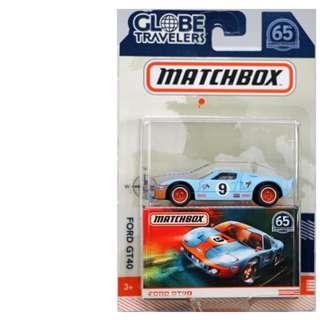 2018 Matchbox 65th Anniversary Globe Travelers Ford GT40 Blue GULF w/Real Riders