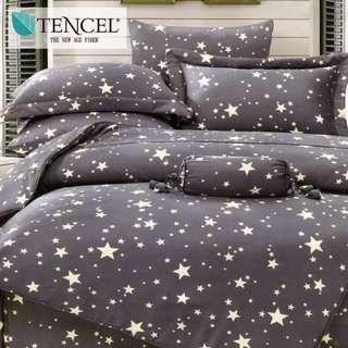 【樂】100%天絲TENCEL 雙人/雙人加大/特大 40支天絲 四件式鋪棉兩用被套床包組&鋪棉兩用被套床罩組(星語)