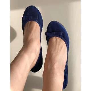 Royal Blue Suede Flats w/ Bow Detail Sz6