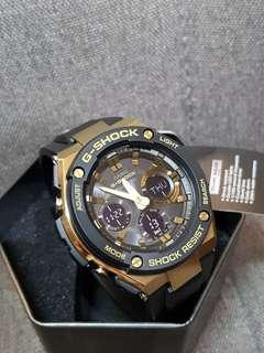 GSTS100G Casio Gshock G-Steel Gold Black For Men Powered by Tough Solar