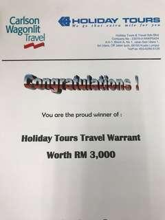 Travel Voucher worth 3k
